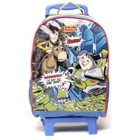 Mochila De Rodinhas Dermiwil Infantil Toy Story Quadrinhos Azul/Amarelo