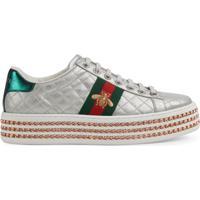 Farfetch  Gucci Tênis  Ace  Com Cristais - Prateado 0793c055cd6