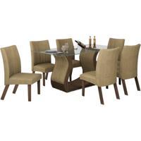 Conjunto De Mesa 1.70M Com 6 Cadeiras Fortuna Chocolate Tecido Animale Bege Lj Móveis