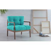 Poltrona De Madeira Decorativa Canela Flocos - Verniz Capuccino Tec.950 Azul Turquesa 69X71X79 Cm