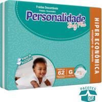 Fralda Personalidade Baby Plus G - 372 Unidades Ganhe Toalhinha Umedecida Personalidade 50 Unidades