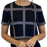 Blusa Cropped John John Tailor Feminino Tricot Xadrez