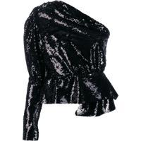 16Arlington Vestido Ombro Única Com Paetês - Preto