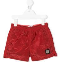 Stone Island Junior Logo Patch Swim Shorts - Vermelho