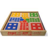 Brinquedo Educativo Jogo 4 Em 1 Damas , Trilha , Ludo , Dominó Jottplay Verde
