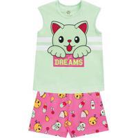"Pijama ""Dreams""- Verde Claro & Rosa- Primeiros Passobrandili"