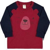 Camiseta Carmim-Bebê Menino-Meia Malha-35655-300 - Masculino-Vermelho+Marinho