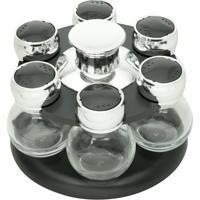 Porta Tempero Giratório De Plástico Com 6 Potes De Vidro Poli - Bon Gourmet - Preto