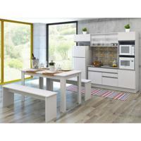 Cozinha Compacta Dalva 4 Peças Glamy Com Vidro 7 Portas E 2 Gavetas Branco E Branco