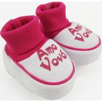 Pantufa Bebê Feminina Suedine Amo Vovó Pink - Feminino-Pink