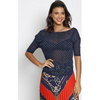 Blusa Em Devorê Com Recortes - Azul Escuro & Preta -Thipton