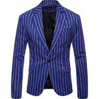 Blazer Masculino Listrado - Azul P
