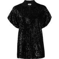 Saint Laurent Camisa Polo Com Paetês - Preto
