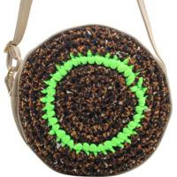Bolsa Birô Cantil Crochê Feminina - Feminino-Verde