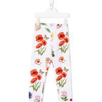 Monnalisa Floral Print Leggings - Branco