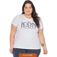 T-Shirt Feminina Básica Com Escrita Icon Branco