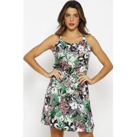 Vestido Estampa Floral- Preto & Verdevip Reserva