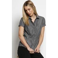 Camisa Listrada Com Bordado & Botões - Preta & Branca