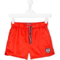 Tommy Hilfiger Junior Shorts Teen Com Logo Em Patch - Vermelho