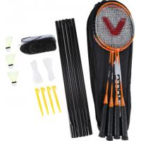 Kit De Badminton Vollo Sports Vb004: 4 Raquetes, 3 Petecas, 1 Rede E 1 Raqueteira - Laranja/Preto