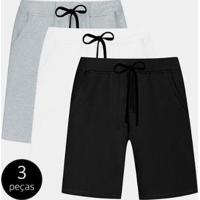 Kit Com 3 Bermudas Part.B Moletom Colors Masculina - Masculino-Branco+Preto