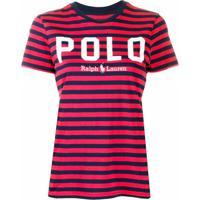 Polo Ralph Lauren Camiseta Com Logo E Listras - Vermelho