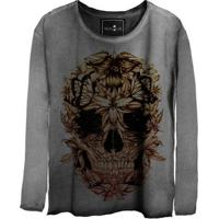 Camiseta Estonada Manga Longa Skull Beautiful