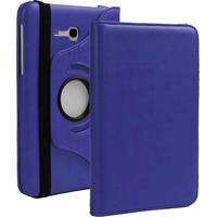 Capa Giratória Inclinável Para Tablet Samsung Galaxy Tab3 7.0´´ Sm-T110 / T111 / T113 / T116 + Película De Vidro -Azul Escuro