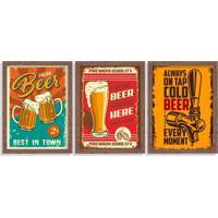 Kit 3 Quadros Decorativos Cervejas Pub Madeira - Médio