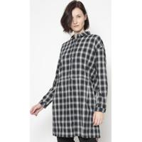 Camisa Xadrez Com Bolsos- Preta & Branca- Cotton Colcotton Colors Extra