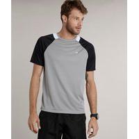 Camiseta Masculina Esportiva Ace Com Recorte Manga Curta Raglan Gola Careca Cinza Claro