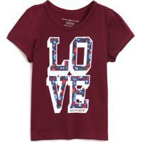Camiseta Tommy Hilfiger Kids Menino Lettering Vinho