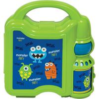 Lancheira Com Garrafinha Monster Party- Verde & Azul Esbuba Toys