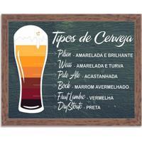 Quadro Decorativo Tipos De Cerveja Madeira - Grande