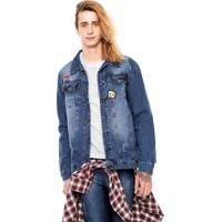 Jaqueta Jeans Fiveblu Patch Azul