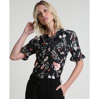 Blusa Feminina Estampada Floral Com Babado Na Manga Gola Laço Preta