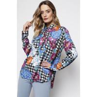 Camisa Quadriculada & Floral- Preta & Azul- Ahaaha