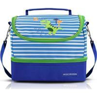 Lancheira Térmica Infantil Jacki Design Dino 2 Compartimentos Masculina - Masculino-Azul