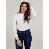 Blusa De Tricot Canelada Eagle Rock Feminina Branco