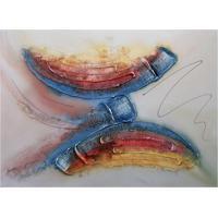Quadro Artesanal Com Textura Abstrato I Colorido 70X100 Uniart