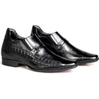 Sapato Social Rafarillo Couro Aumenta Altura Masculino - Masculino-Preto