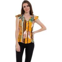 Blusa Crepe Estampada Botões Feminina - Feminino-Amarelo+Roxo