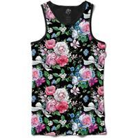 Camiseta Bsc Regata Dark Flower Tie Full Print - Masculino-Preto