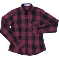Camisa Manga Longa Feminina Xadrez Rodeo Western - Feminino-Roxo