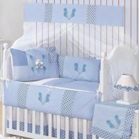 Kit Berço Padroeira Baby Patch Ursinho Azul