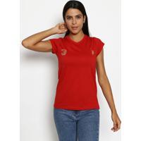 """Camiseta """"3"""" Com Recortes- Vermelha & Dourada- Club Club Polo Collection"""