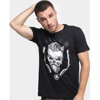 Camiseta Rukes Skull Barber Masculina - Masculino-Preto