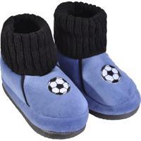 Pantufa Infantil Masculino Em Pelúcia Para Inverno - Azul Futebol