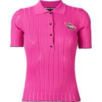 Pinko Ribbed Polo Shirt - Rosa