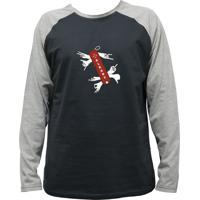 Camiseta Alkary Raglan Manga Longa Canivete Suiço Chumbo E Mescla